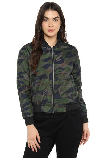 Womens Zip Through Neck Camouflage Bomber Jacket