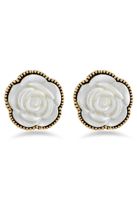 JAZZ Exclusive White Colour Flower Shaped Brass Earring Jewellery