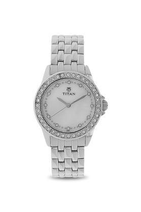 Womens White Dial Metallic Analogue Watch - NK9798SM02
