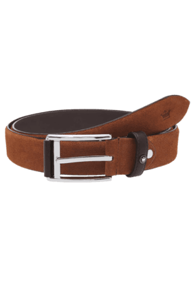 LOUIS PHILIPPE Mens Brown Suede Leather Formal Belt