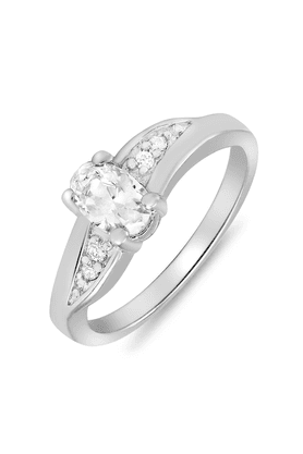 MAHIMahi Rhodium Plated Wave Delight Ring With CZ Stones For Women FR1100078R