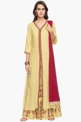 RS BY ROCKY STAR Womens Printed Palazzo Kurta Dupatta Set