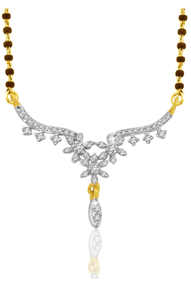 SPARKLES 18Kt Gold Mangalsutra With Diamond Pendant Along With Gold Plated Silver Chain And Black - 7504331