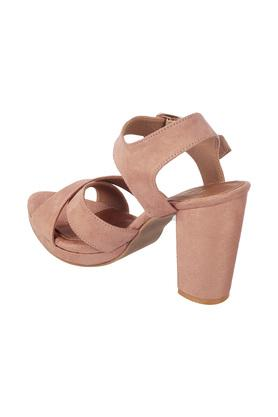 Womens Casual Wear Cross Strap Buckle Closure Block Heels