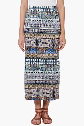 ANDWomen Geometric Print High Slit Skirt