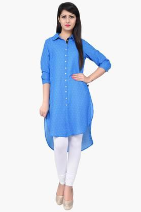 JUNIPER Women Printed Front Open Long Shirt Kurta