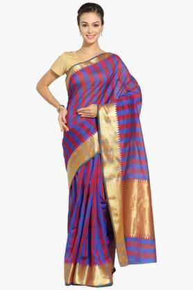 Women Multi Checks Woven Chanderi Saree