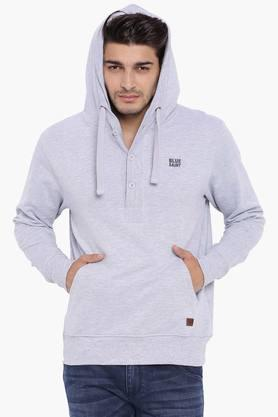 BLUE SAINT Mens Grey Solid Sweatshirt