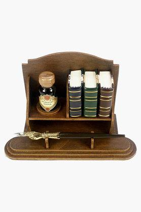 Rubinato Ink With 3 Mini Books Simil Wooden Base And Nib Holder Set