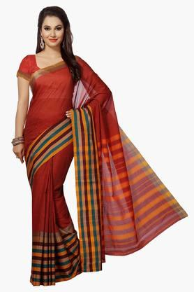 ISHIN Women Poly Cotton Stripe Saree