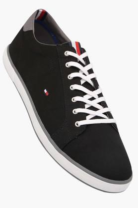 Mens Leather Lace Up Canvas Shoes