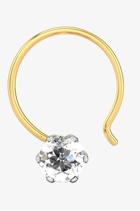 VELVETCASEWomens 18 Karat Yellow Gold Nose Ring (Free Diamond Pendant) - 201065076