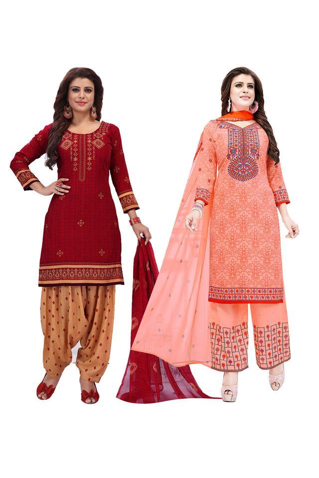 Womens Printed Salwar Suit Dress Material with Dupatta - Pack of 2
