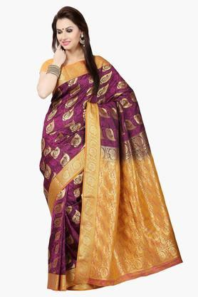 ISHIN Womens Poly Silk Brocade Banarasi Saree