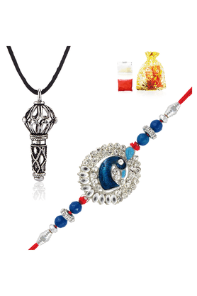 MAHI Combo Of Charming Peacock Rakhi And Lord Hanuman Silver Rhodium Plated Pendant