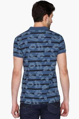 Mens Slim Fit Short Sleeves Printed Polo T-shirt