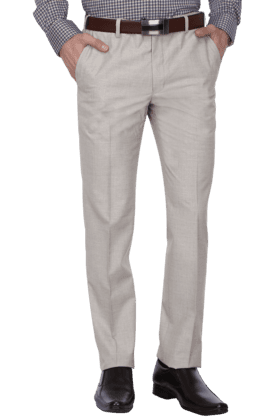 PARK AVENUEMens 4 Pocket Flat Front Slim Fit Solid Formal Trouser