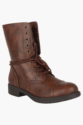 STEVE MADDEN Womens Casual Lace Up & Zipper Closure Boots