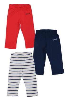KARROT Girls Cotton Striped Trousers -Pack Of 3