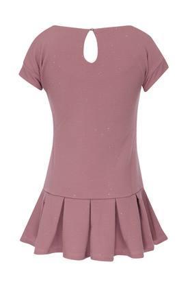 Girls Round Neck Shimmer Drop Waist Dress