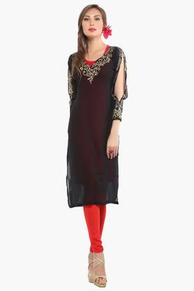 IRA SOLEILWomens Slim Fit Printed Kurta With Inner (Buy Any Ira Soleil Product And Get A Necklace Free)