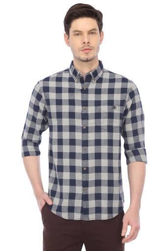Mens Button Down Collar Check Casual Shirt