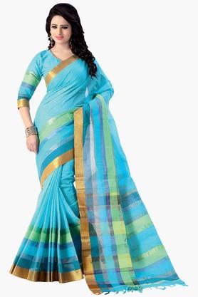Women Pure Cotton Zari Border Saree