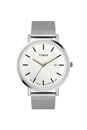 Mens Fashion White Dial Stainless Steel Analogue Watch - TWEG17701