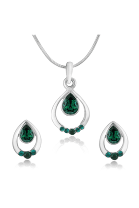MAHI Mahi Rhodium Plated Pretty Green Drop Pendant Set Made With Swarovski Elements For Women NL1104124RGre