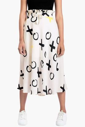 FABALLEY Womens Printed Calf Length Skirt
