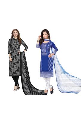 Womens Printed Unstitched Salwar Suit Dress Material with Dupatta Combo of 2