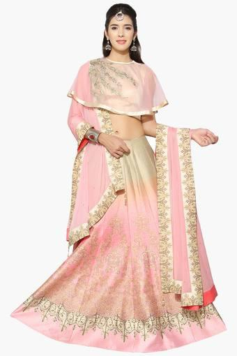 Womens Semi Stitched Round Neck Embroidered Cape Lehenga Choli