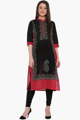 SHREE Women Printed Linen Kurta