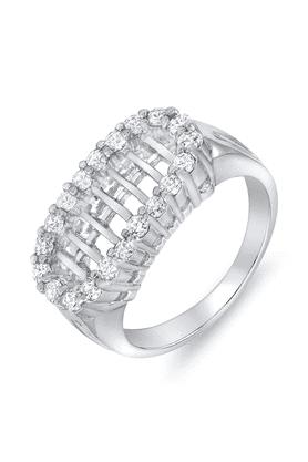 MAHIMahi Rhodium Plated Classic Bar Ring With CZ Stones For Women FR1100069R