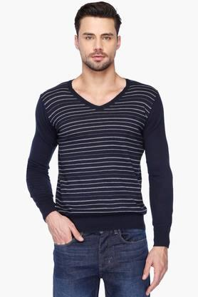 GAS Mens Slim Fit Stripe V Neck Sweater (Marlon Fit)