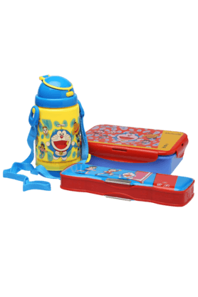 Unisex Doraemon Pencil Box Lunch Box and Water Bottle Combo Set