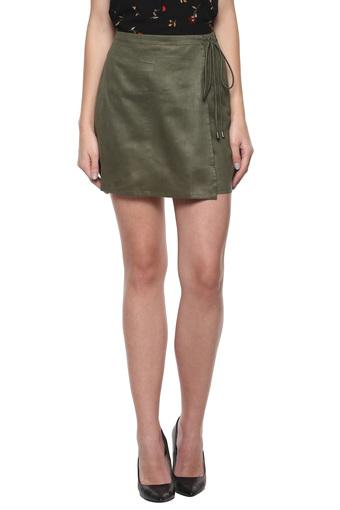 Womens Solid Wrap Skirt