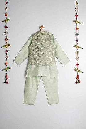 STOP - Green Kurta Pyjama Jacket Set - 1