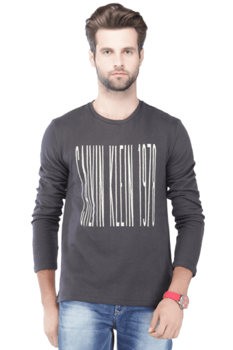 93fe0bb68e23 Buy CALVIN KLEIN JEANS Mens Full Sleeves Round Neck Slim Fit Printed T-Shirt  | Shoppers Stop