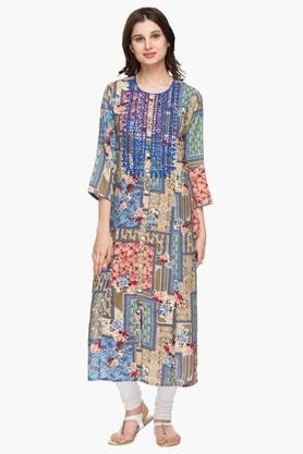 RS BY ROCKY STAR Womens Round Neck Printed Kurta