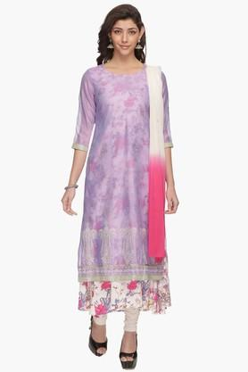 HAUTE CURRY Womens Printed Layered Churidar Suit