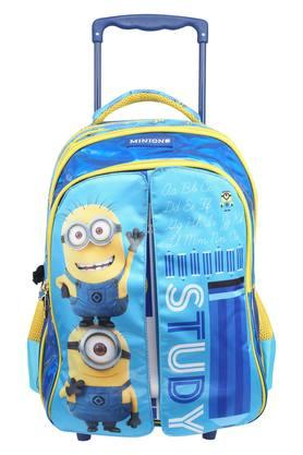 Kids Minions Print Zip Closure Flap School Trolley Bag