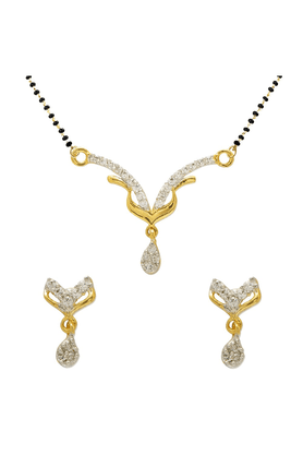 MAHI Mahi Gold Plated Fancy Crystal Mangalsutra Set With CZ Stones For Women NL1101971G