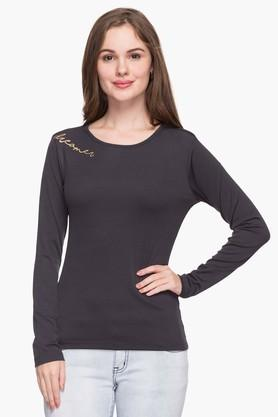 FRATINI WOMAN Womens Round Neck Solid Knitted Pullover