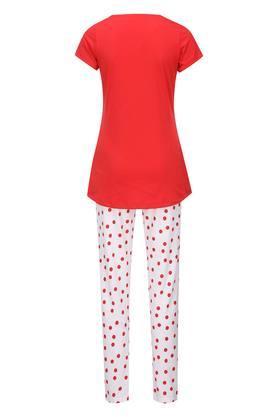 Womens Round Neck Graphic Print Top and Pyjamas Set