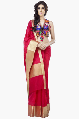 JASHN Womens Embroidered Saree With Blouse Piece - 201313066