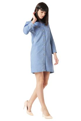 Womens Washed Buttoned Shirt Dress
