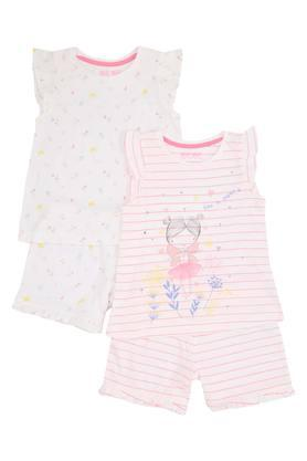 Girls Round Neck Stripe and Printed Top and Short Set Pack of 2