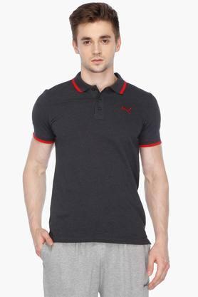 PUMAMens Short Sleeves Solid Polo T-Shirt