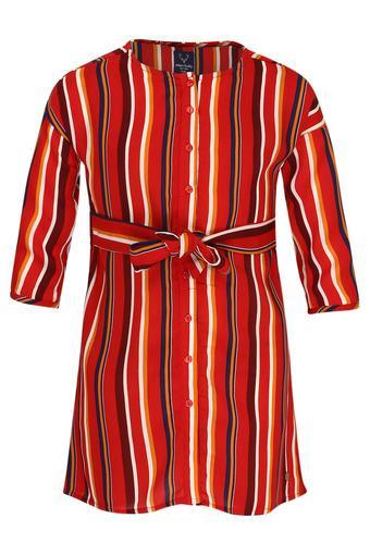 Girls Round Neck Stripe Shirt Dress